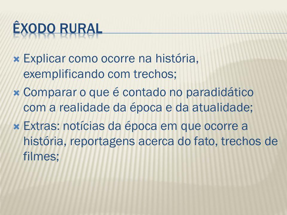 Êxodo Rural Explicar como ocorre na história, exemplificando com trechos;
