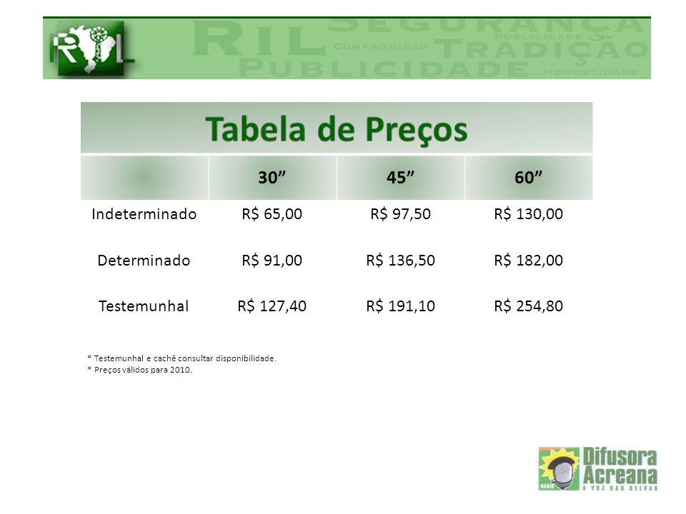Tabela de Preços 30 45 60 Indeterminado R$ 65,00 R$ 97,50 R$ 130,00