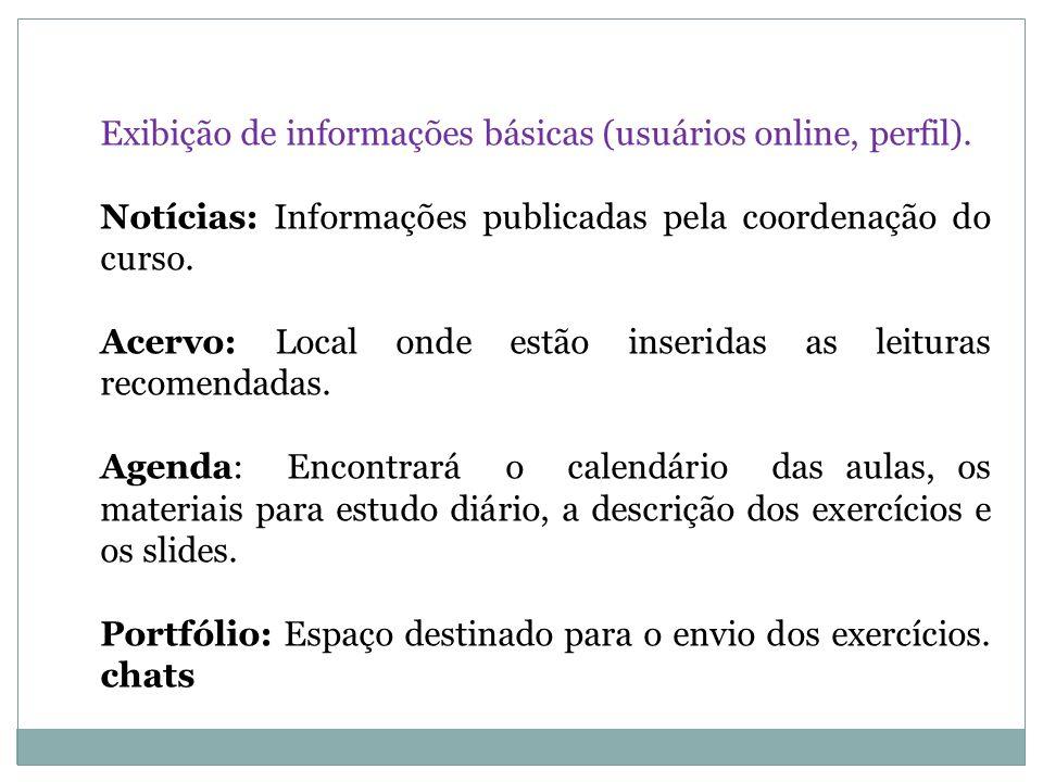 Exibição de informações básicas (usuários online, perfil).