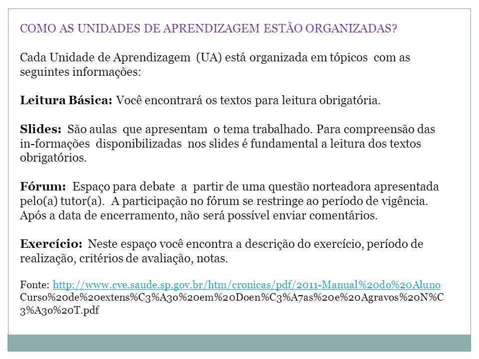 COMO AS UNIDADES DE APRENDIZAGEM ESTÃO ORGANIZADAS