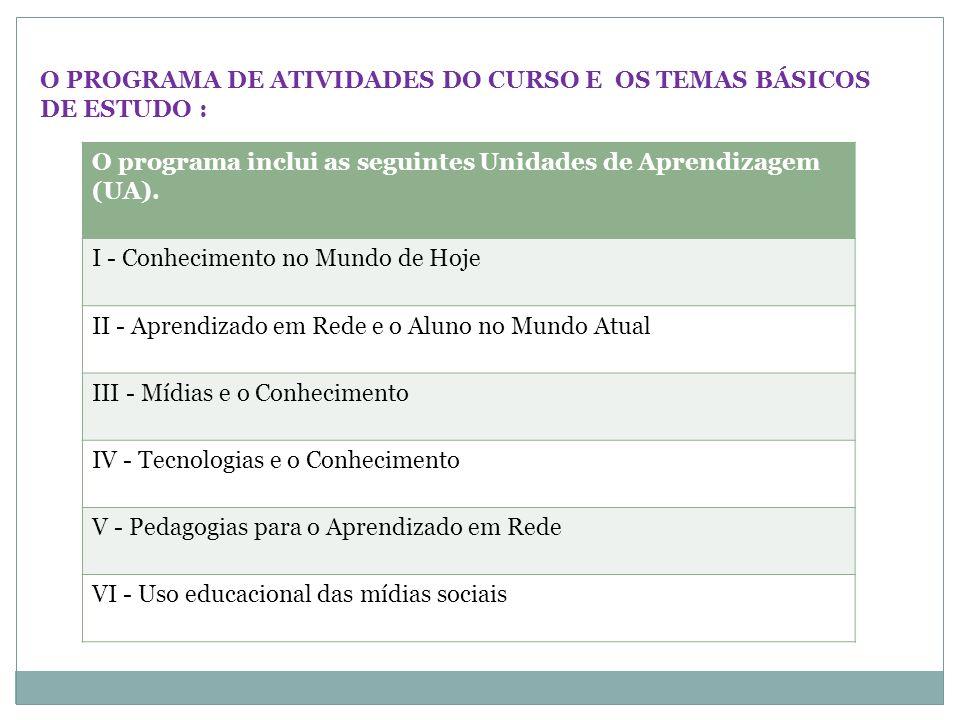 O PROGRAMA DE ATIVIDADES DO CURSO E OS TEMAS BÁSICOS DE ESTUDO :