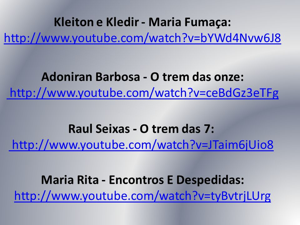 Raul Seixas - O trem das 7: http://www.youtube.com/watch v=JTaim6jUio8