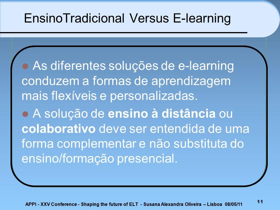 EnsinoTradicional Versus E-learning