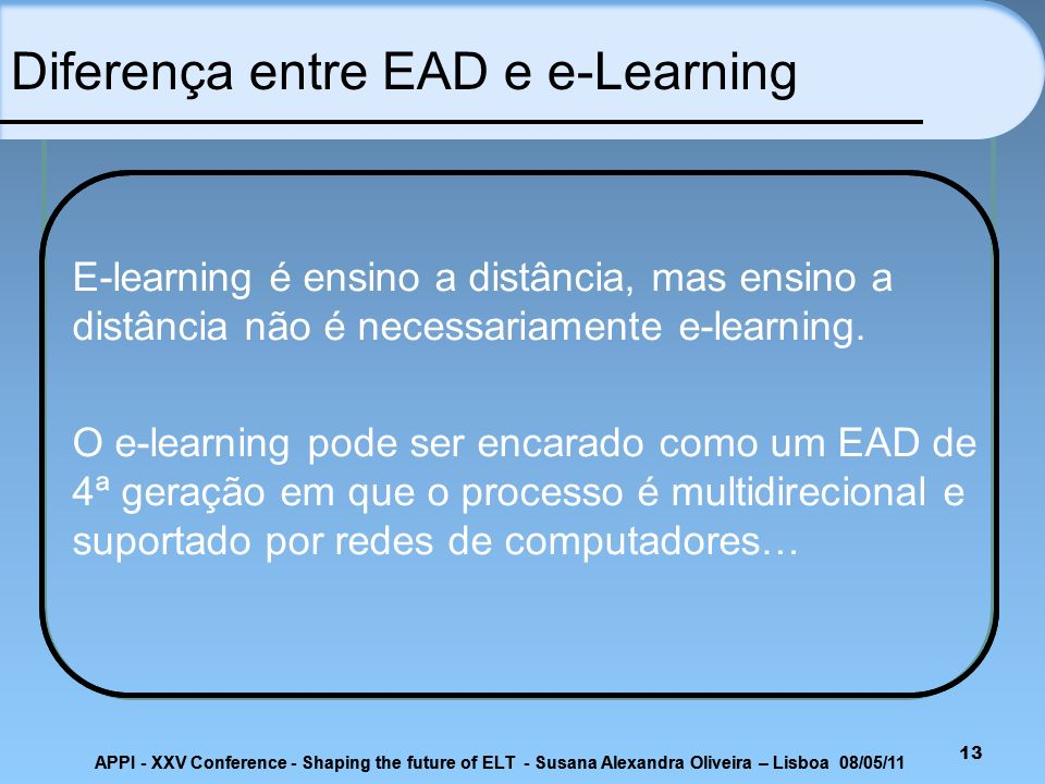 Diferença entre EAD e e-Learning