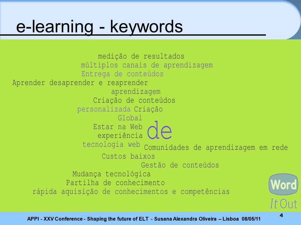 e-learning - keywords APPI - XXV Conference - Shaping the future of ELT - Susana Alexandra Oliveira – Lisboa 08/05/11.