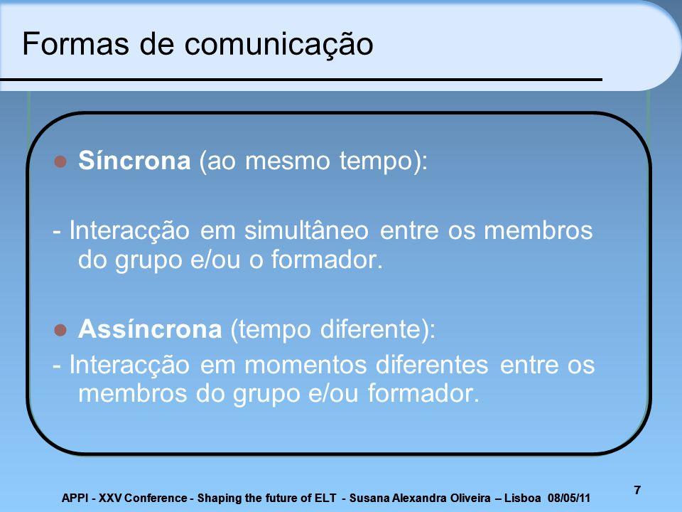 Formas de comunicação Síncrona (ao mesmo tempo):