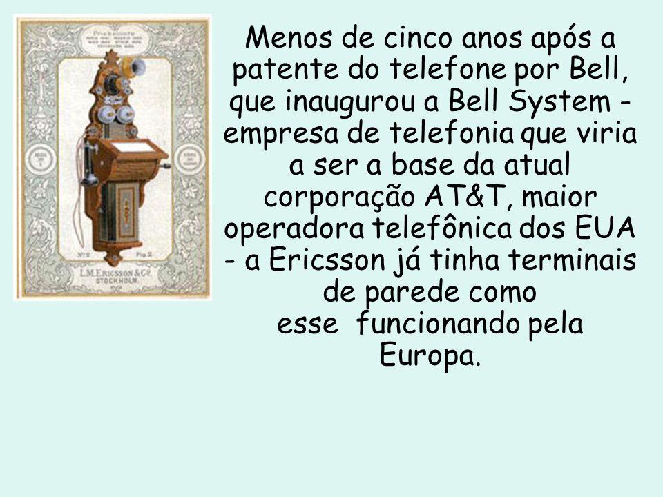 Menos de cinco anos após a patente do telefone por Bell, que inaugurou a Bell System - empresa de telefonia que viria a ser a base da atual corporação AT&T, maior operadora telefônica dos EUA - a Ericsson já tinha terminais de parede como esse funcionando pela Europa.