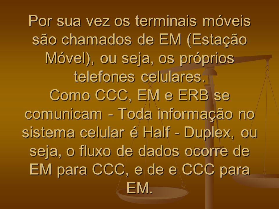 Por sua vez os terminais móveis são chamados de EM (Estação Móvel), ou seja, os próprios telefones celulares.