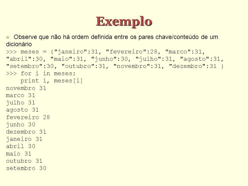 Exemplo Observe que não há ordem definida entre os pares chave/conteúdo de um dicionário.