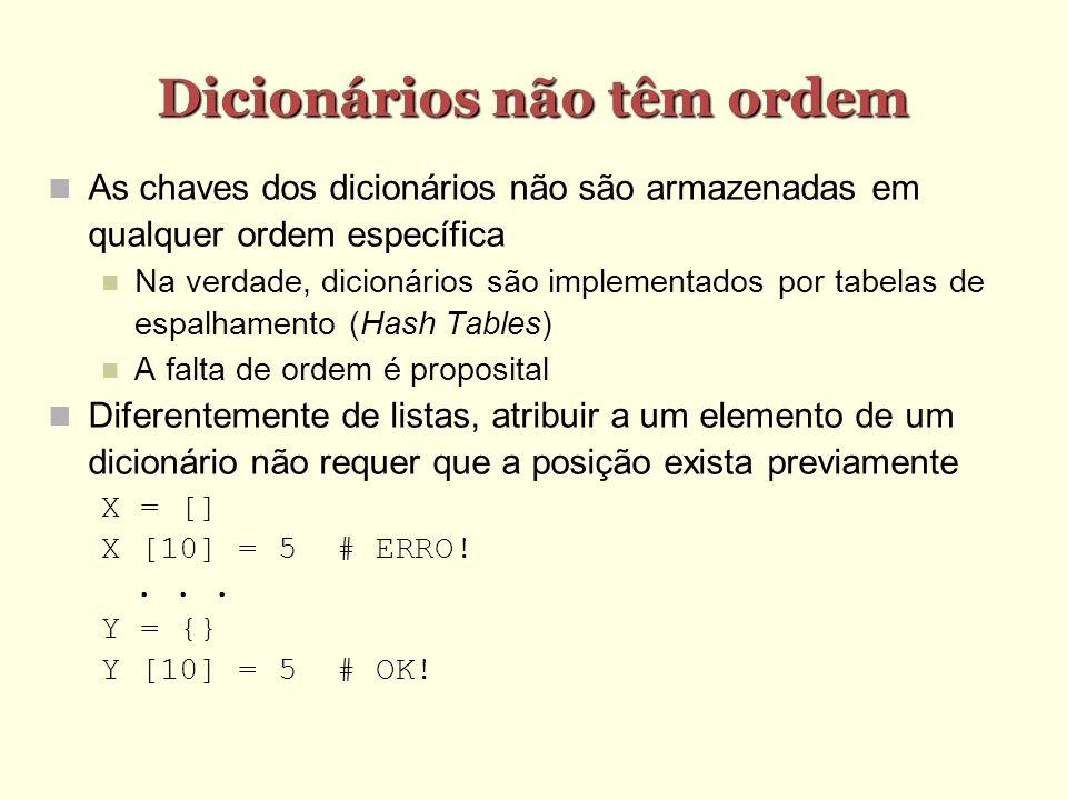Dicionários não têm ordem