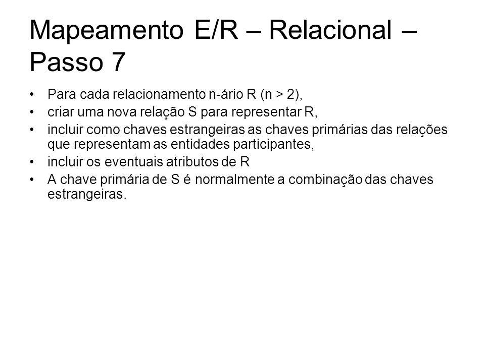 Mapeamento E/R – Relacional – Passo 7