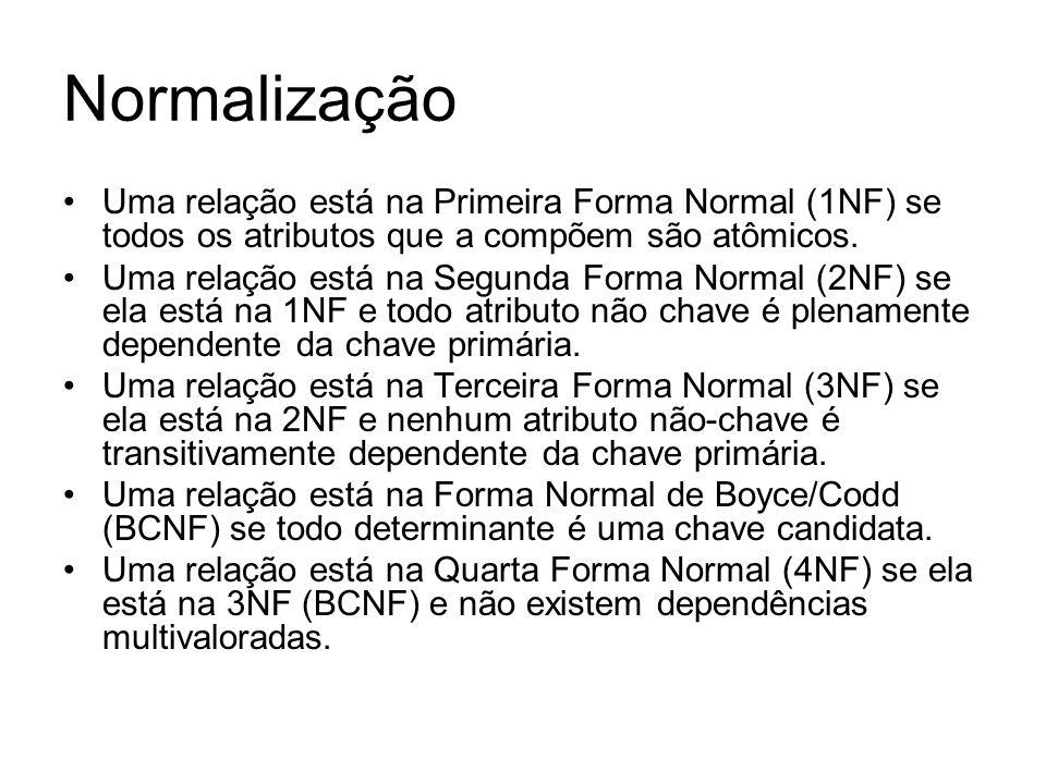 Normalização Uma relação está na Primeira Forma Normal (1NF) se todos os atributos que a compõem são atômicos.