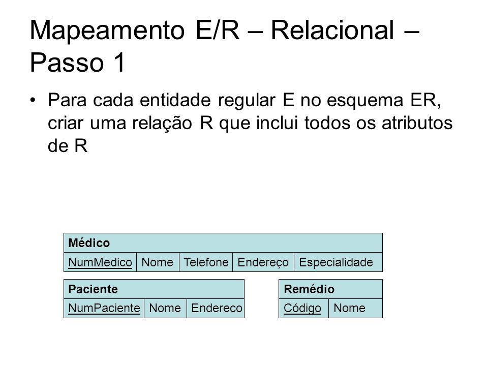 Mapeamento E/R – Relacional – Passo 1