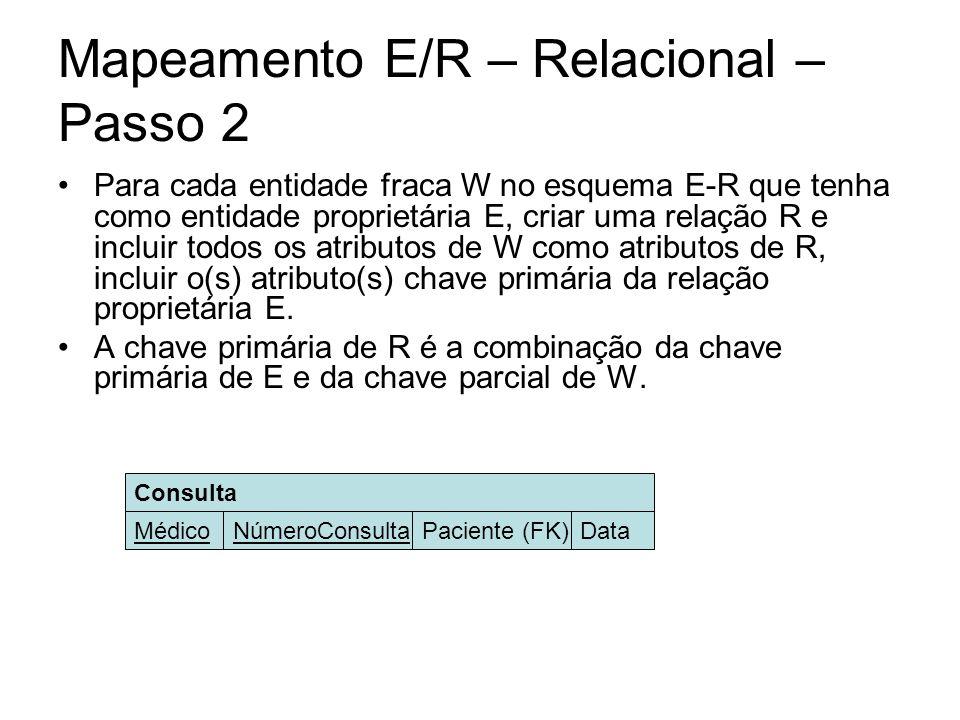 Mapeamento E/R – Relacional – Passo 2