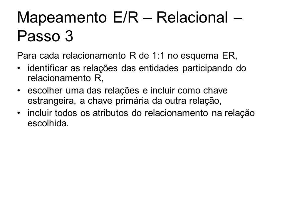 Mapeamento E/R – Relacional – Passo 3