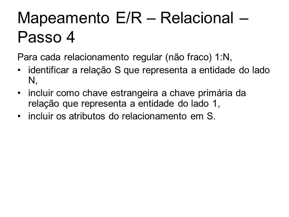 Mapeamento E/R – Relacional – Passo 4