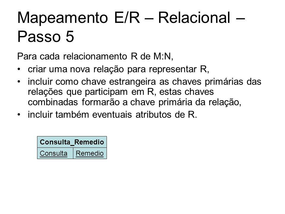 Mapeamento E/R – Relacional – Passo 5