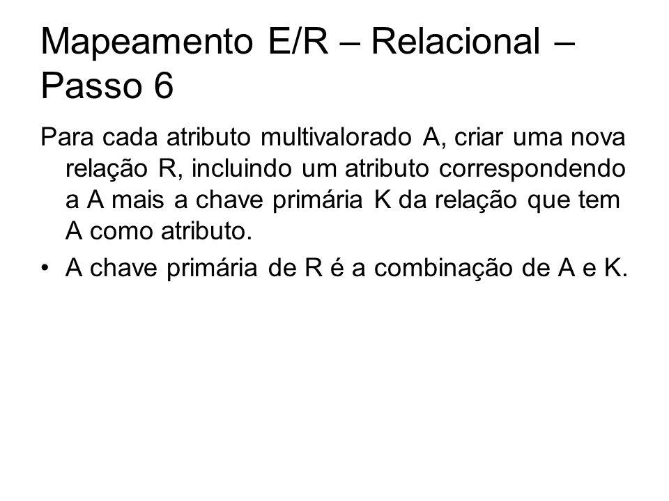 Mapeamento E/R – Relacional – Passo 6