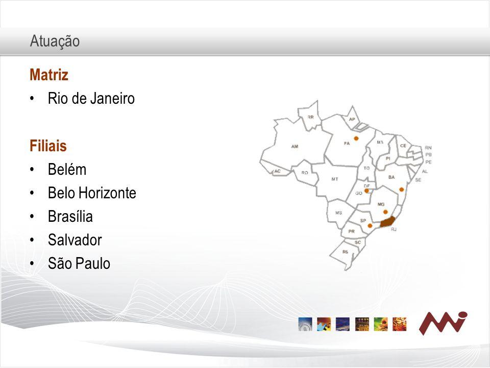 Atuação Matriz Rio de Janeiro Filiais Belém Belo Horizonte Brasília Salvador São Paulo