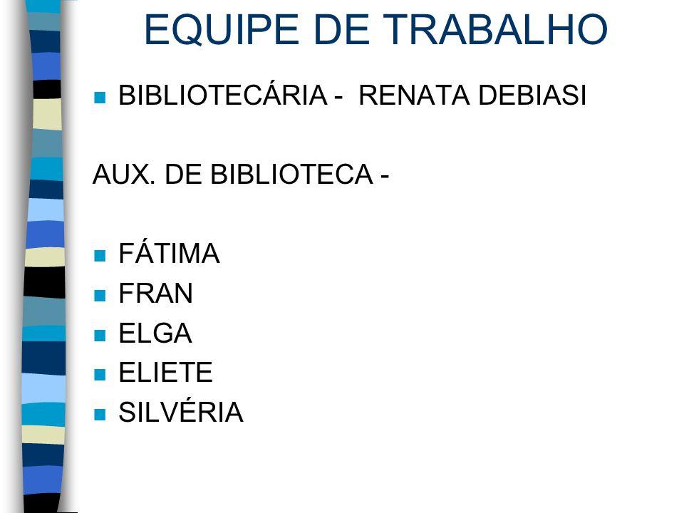 EQUIPE DE TRABALHO BIBLIOTECÁRIA - RENATA DEBIASI AUX. DE BIBLIOTECA -