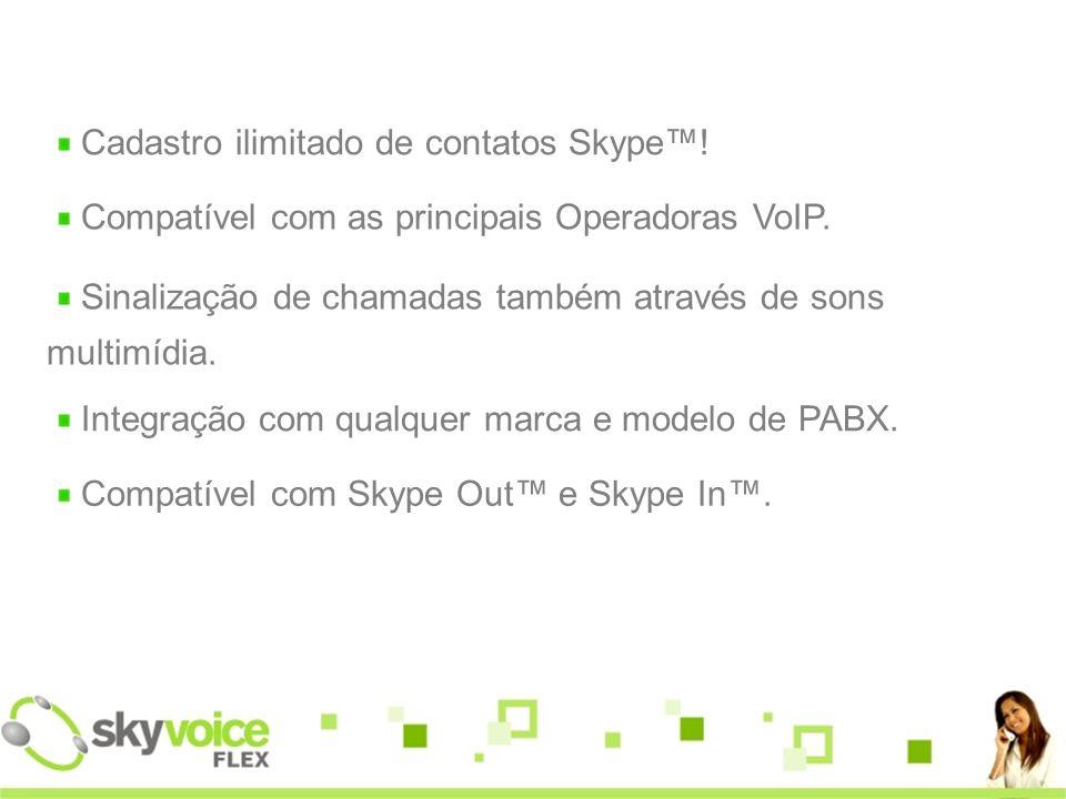 Cadastro ilimitado de contatos Skype™!