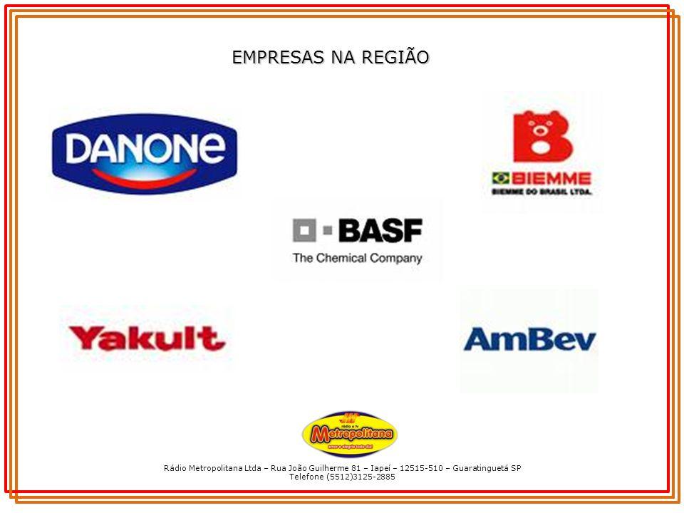 EMPRESAS NA REGIÃO Rádio Metropolitana Ltda – Rua João Guilherme 81 – Iapeí – 12515-510 – Guaratinguetá SP.