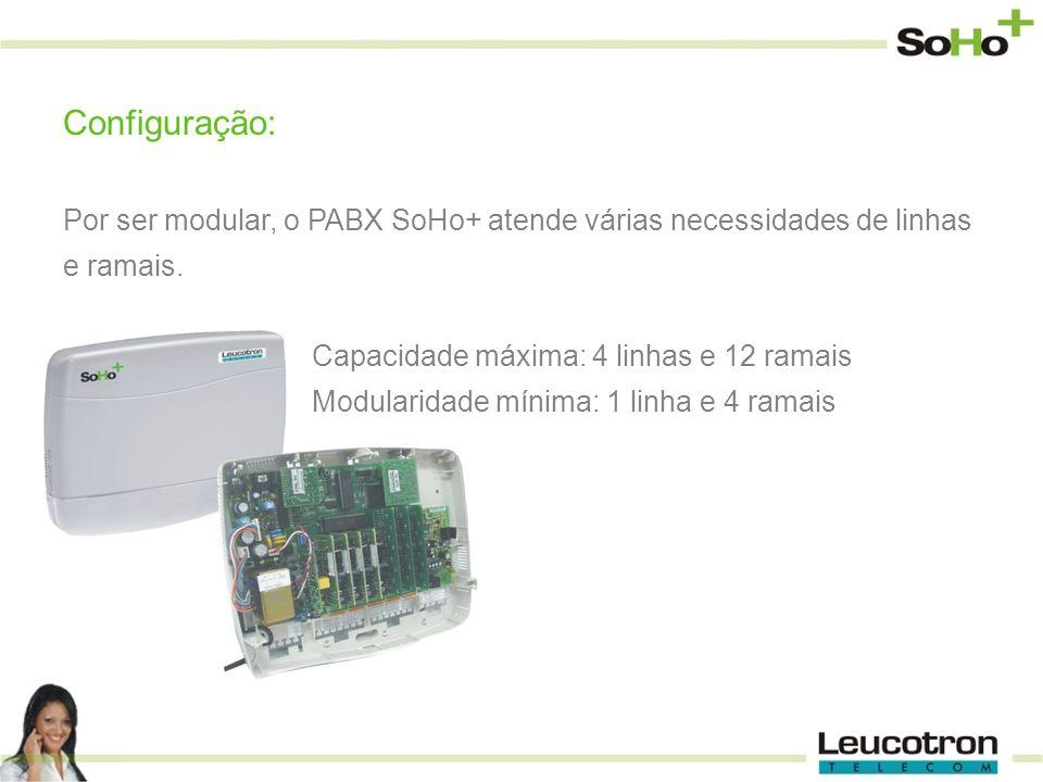 Configuração: Por ser modular, o PABX SoHo+ atende várias necessidades de linhas e ramais. Capacidade máxima: 4 linhas e 12 ramais.
