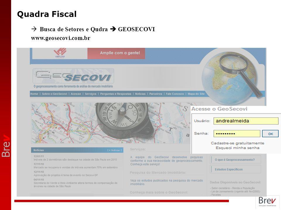 Quadra Fiscal Busca de Setores e Qudra  GEOSECOVI