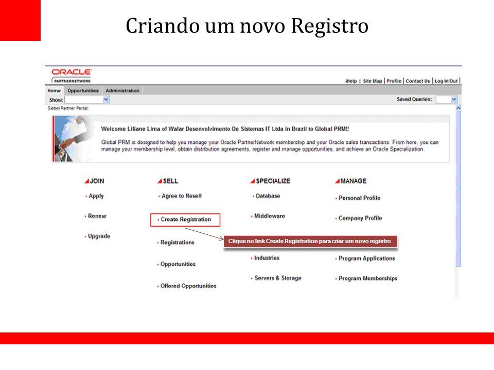 Criando um novo Registro