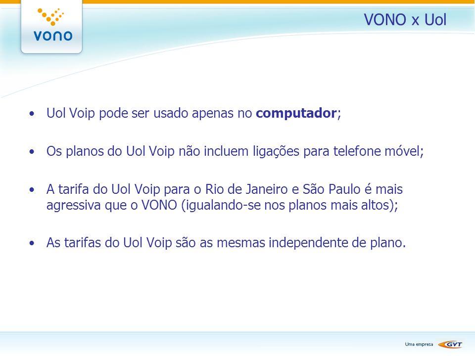 VONO x Uol Uol Voip pode ser usado apenas no computador;