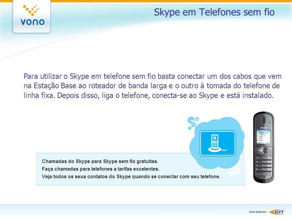 Skype em Telefones sem fio