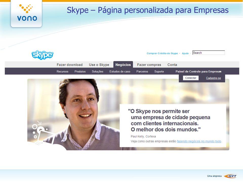 Skype – Página personalizada para Empresas