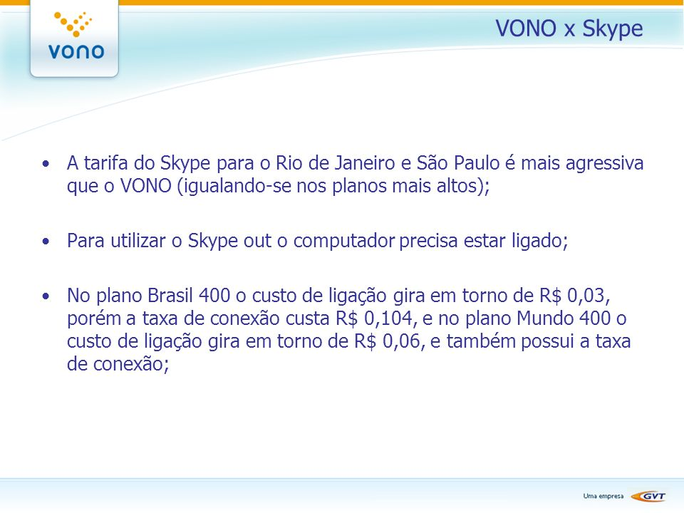 VONO x Skype A tarifa do Skype para o Rio de Janeiro e São Paulo é mais agressiva que o VONO (igualando-se nos planos mais altos);