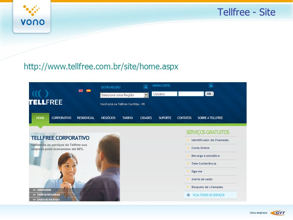 Tellfree - Site http://www.tellfree.com.br/site/home.aspx