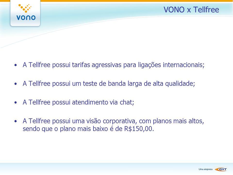 VONO x Tellfree A Tellfree possui tarifas agressivas para ligações internacionais; A Tellfree possui um teste de banda larga de alta qualidade;