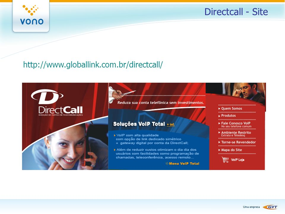 Directcall - Site http://www.globallink.com.br/directcall/
