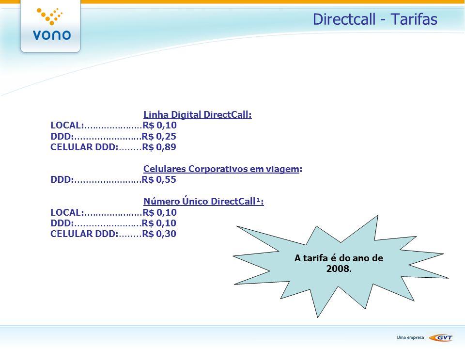 Directcall - Tarifas Linha Digital DirectCall: