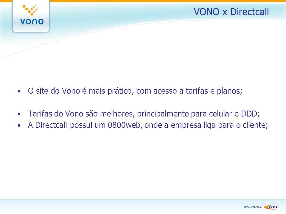 VONO x Directcall O site do Vono é mais prático, com acesso a tarifas e planos; Tarifas do Vono são melhores, principalmente para celular e DDD;