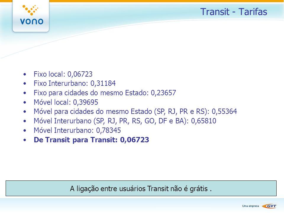A ligação entre usuários Transit não é grátis .