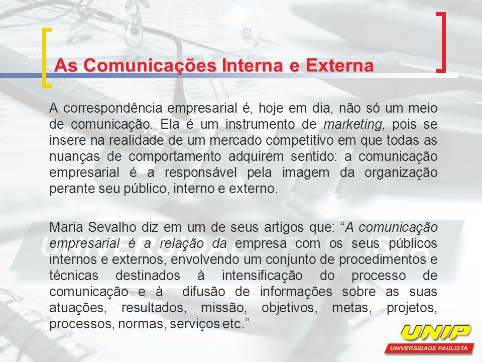 As Comunicações Interna e Externa