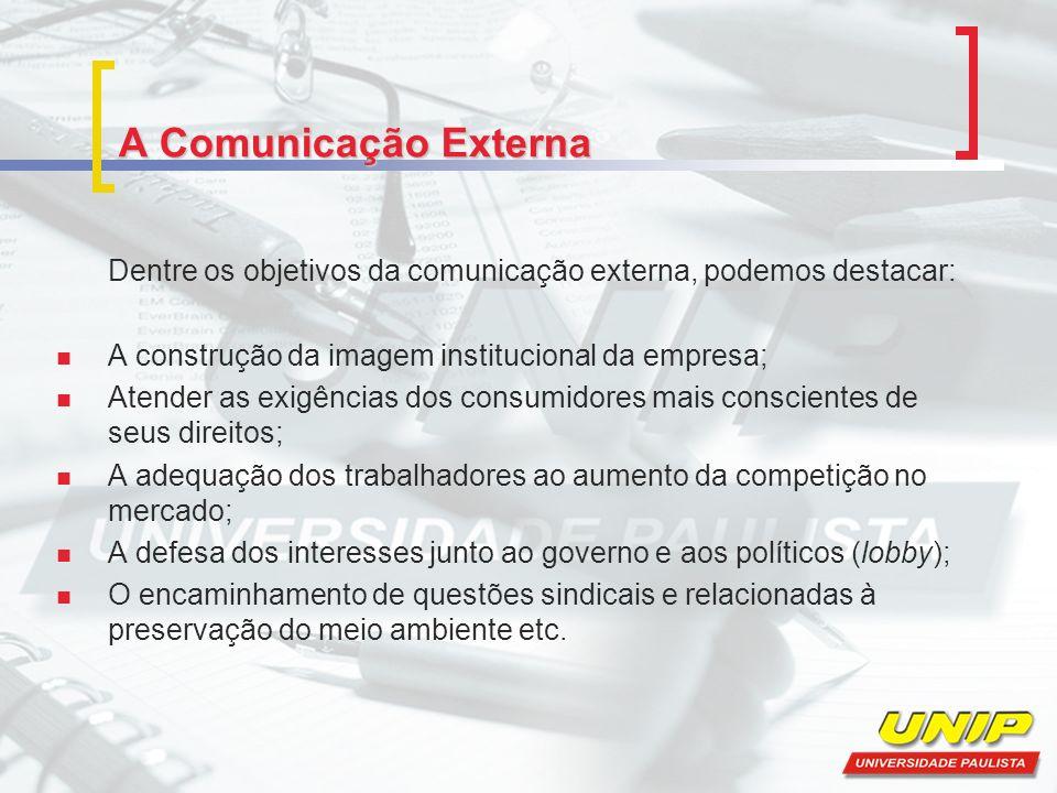 A Comunicação Externa Dentre os objetivos da comunicação externa, podemos destacar: A construção da imagem institucional da empresa;