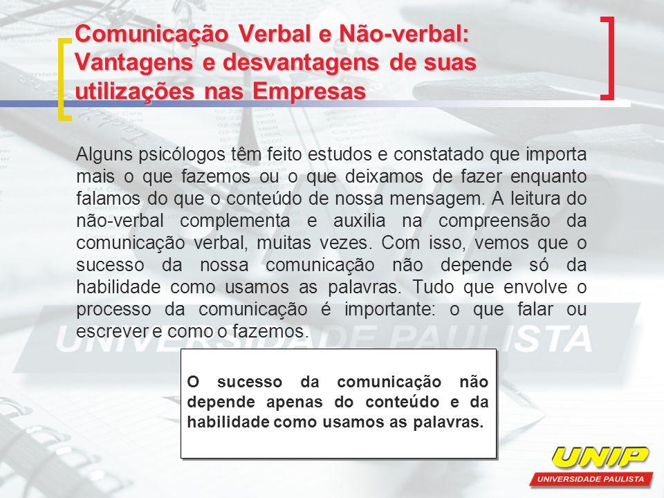 Comunicação Verbal e Não-verbal: Vantagens e desvantagens de suas utilizações nas Empresas