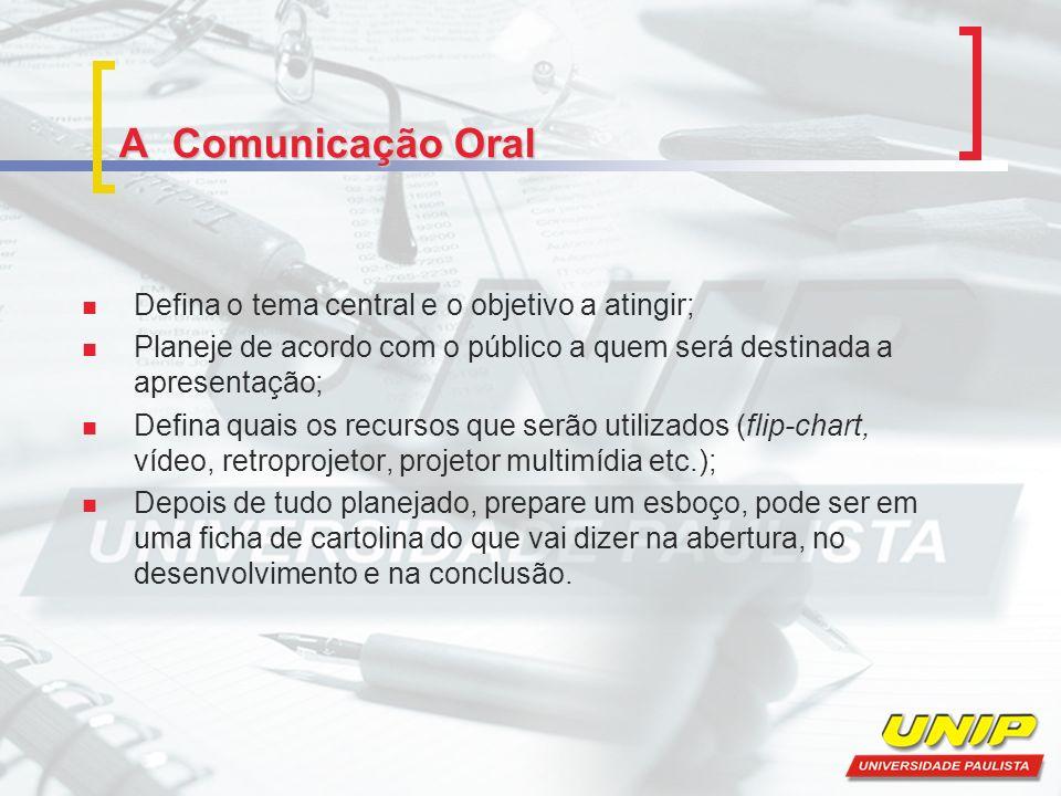 A Comunicação Oral Defina o tema central e o objetivo a atingir;