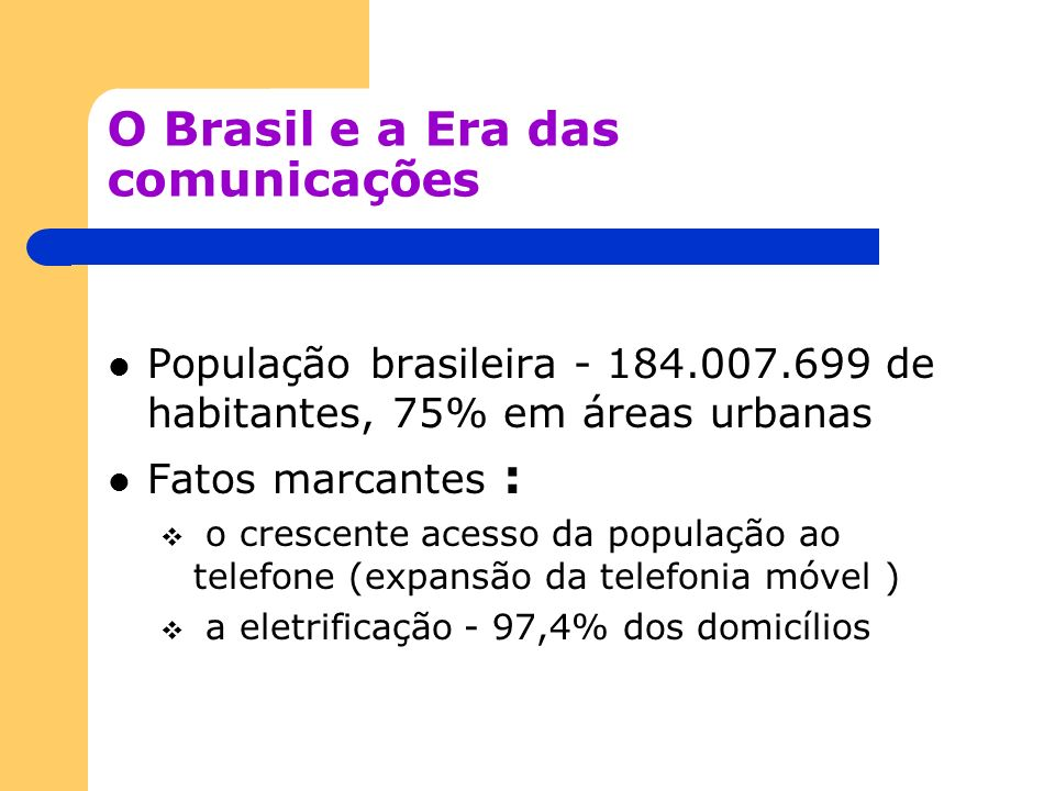 O Brasil e a Era das comunicações