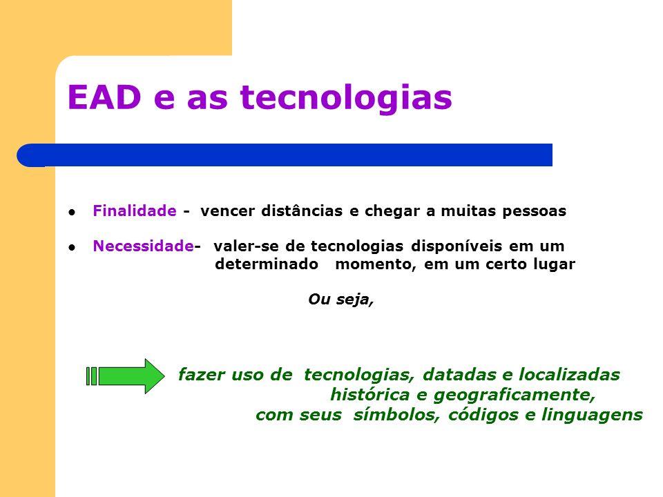 EAD e as tecnologias histórica e geograficamente,