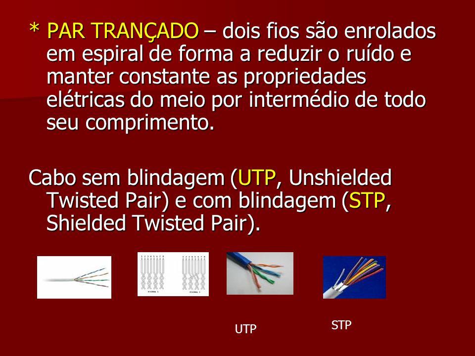 * PAR TRANÇADO – dois fios são enrolados em espiral de forma a reduzir o ruído e manter constante as propriedades elétricas do meio por intermédio de todo seu comprimento.