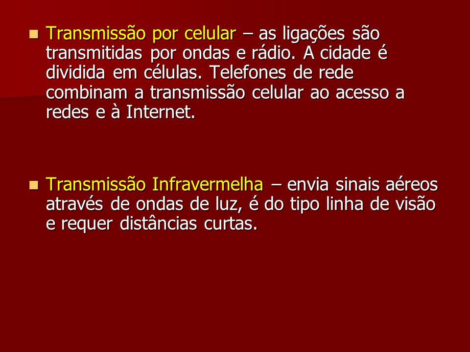 Transmissão por celular – as ligações são transmitidas por ondas e rádio. A cidade é dividida em células. Telefones de rede combinam a transmissão celular ao acesso a redes e à Internet.