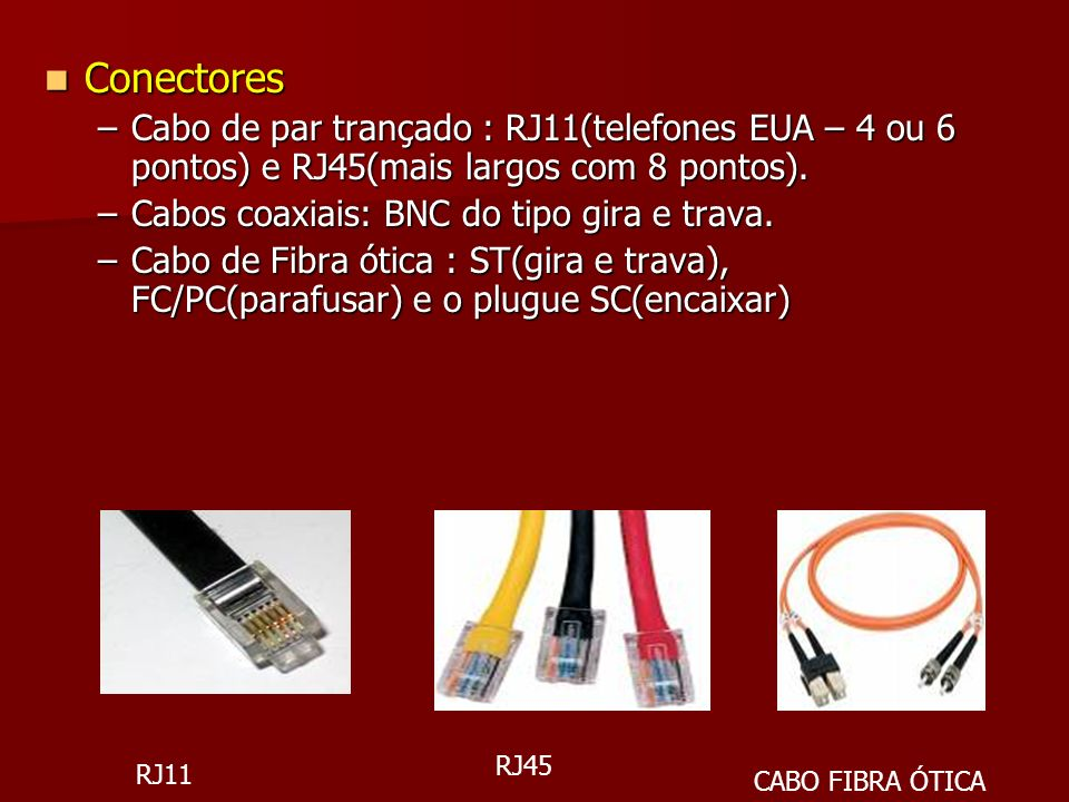 Conectores Cabo de par trançado : RJ11(telefones EUA – 4 ou 6 pontos) e RJ45(mais largos com 8 pontos).