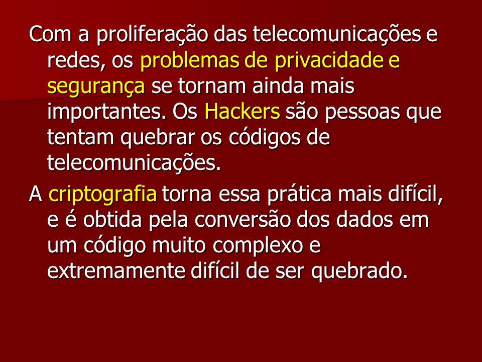 Com a proliferação das telecomunicações e redes, os problemas de privacidade e segurança se tornam ainda mais importantes. Os Hackers são pessoas que tentam quebrar os códigos de telecomunicações.