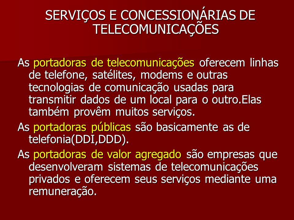 SERVIÇOS E CONCESSIONÁRIAS DE TELECOMUNICAÇÕES